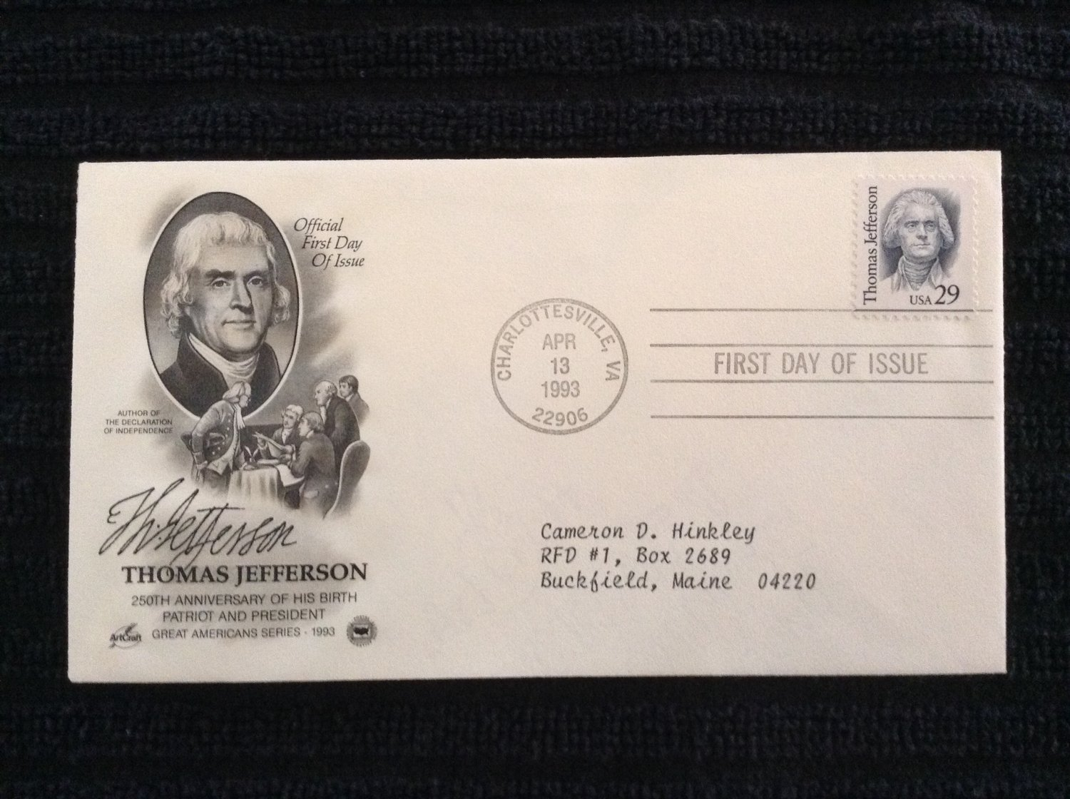 First Day of Issue Cover - Thomas Jefferson (1993)