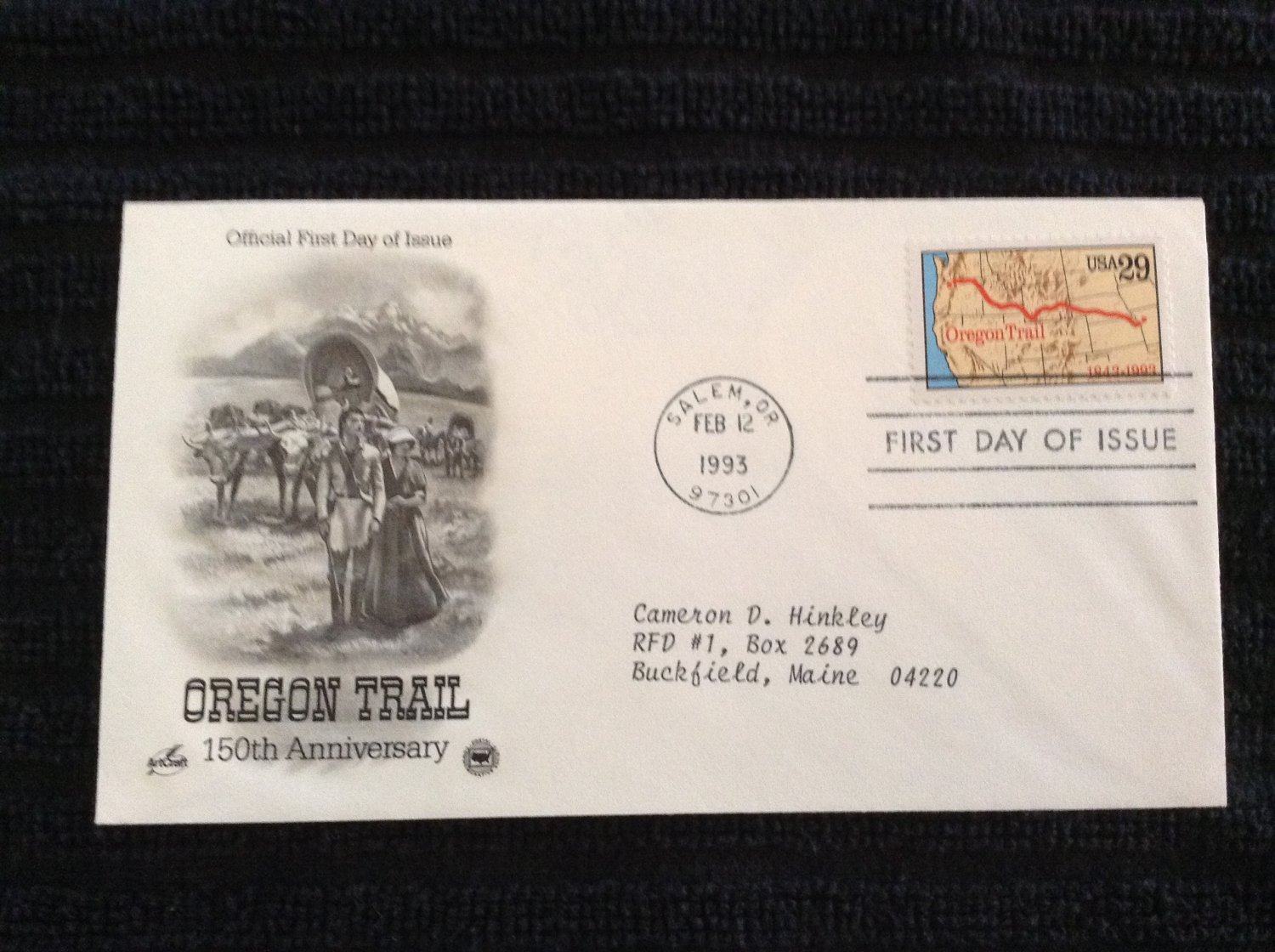 First Day of Issue Cover - Oregon Trail (1993)