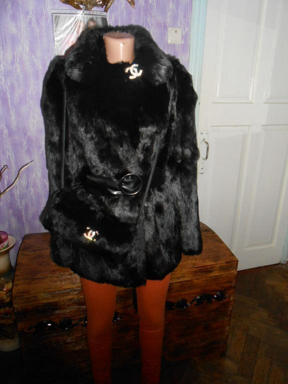 Real Rabbit fur coat + purse (chanel icons)