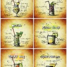 Set 6 Pcs Cocktail Recipes Handmade High-Quality Photo Magnet Fridge Decor Craft Gift 4x3