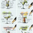 Set 6 Pcs Cocktail Recipes Handmade High-Quality Photo Magnet Fridge Decor Craft Gift 4x3