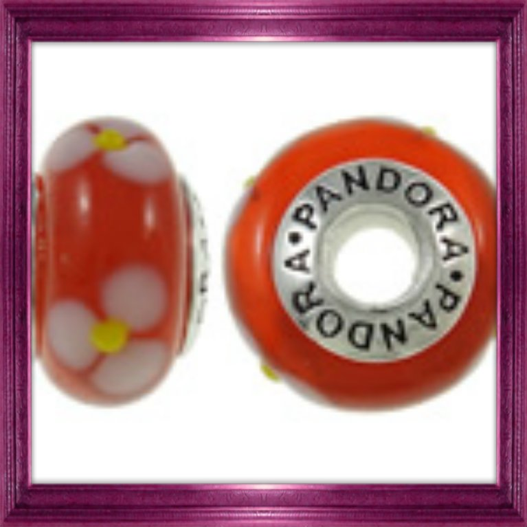 Orange Pandora 925 Ale Glass Bead