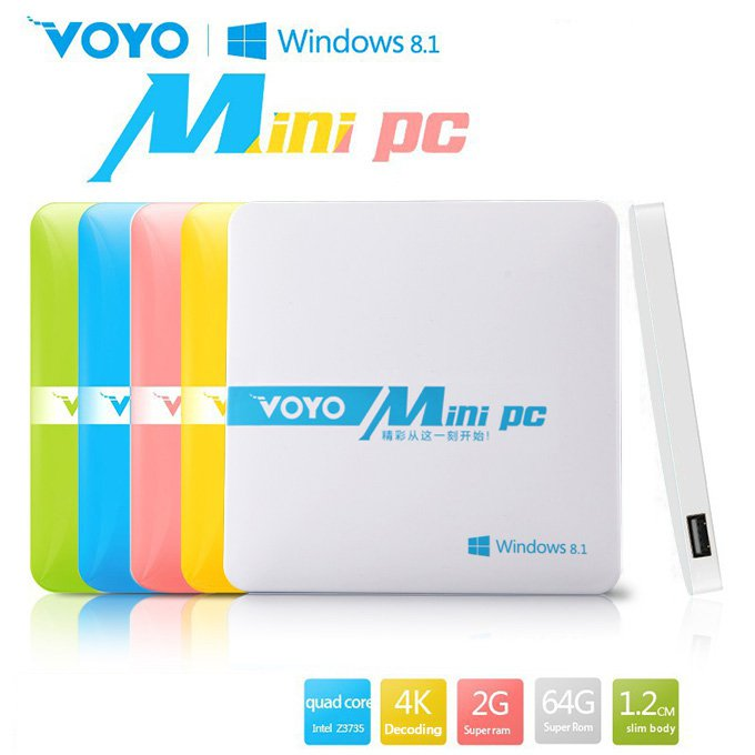 VOYO Mini PC Windows 8.1 Intel Z3735F 2G RAM 64G ROM WIFI Bluetooth 1000mAh Battery - White