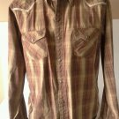 BKE Western Shirt Men's Size XL Pearl Snap Distressed Contour Fit Plaid Brown