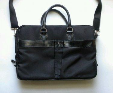 Perry Ellis Laptop Bag Messenger Shoulder Portfolio Black Canvas Leather Vintage