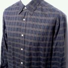 Tommy Bahama Shirt Men's Size L Button Front Long Sleeve Dress Black Plaid EUC