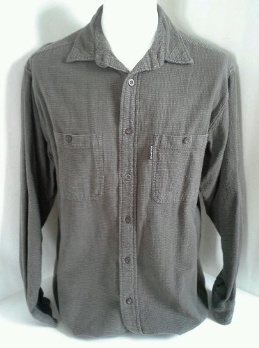 Woolrich Shirt Flannel Mens Size L Button Front Long Sleeve Cotton Thick Gray