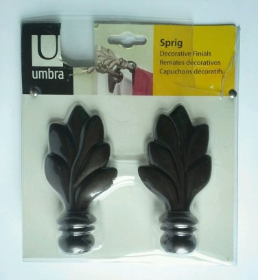 NEW Umbra Sprig Curtain Rod Finials Pair Set Draperies Window Bronze NIB Box