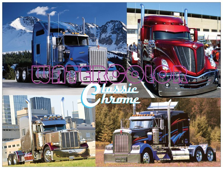 Classic Chrome Semi Truck Rigs Collage Poster Kenworth Lonestar 18 x 24
