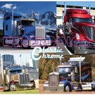 Classic Chrome Semi Truck Rigs Collage Poster Kenworth Lonestar 18 x 24