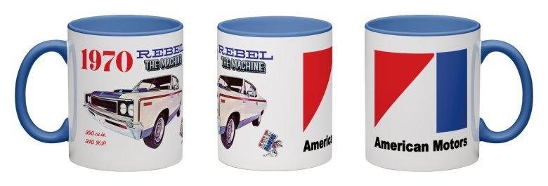 1970 AMC Rebel Machine Coffee Mug - Really C@@L MUG! BLUE HANDLE