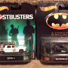 (4) Hot Wheels Retro Entertainment Knight Rider, Ghostbusters, Batmobile, and Back to the Future