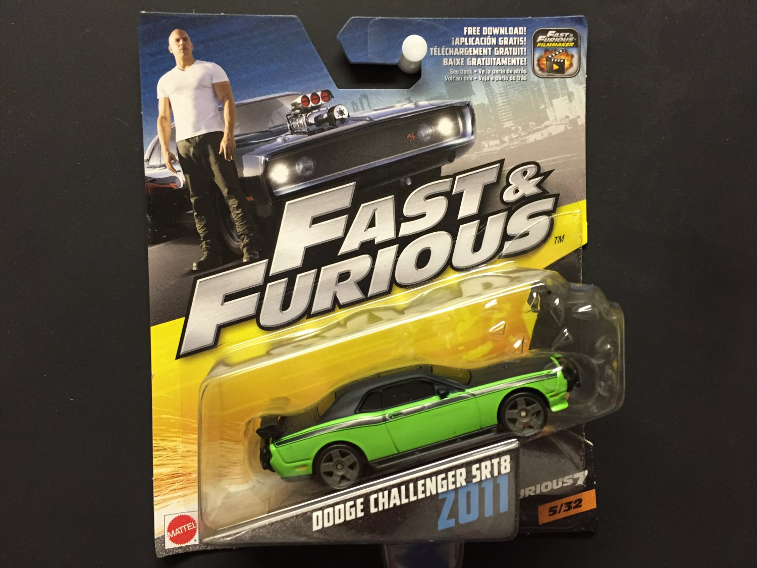 mattel fast furious 7 dodge challenger srt8 z011 5 32 2016. Black Bedroom Furniture Sets. Home Design Ideas