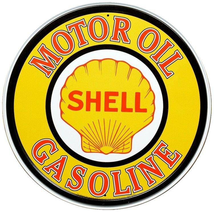 """LARGE 24"""" Shell Motor Oil Gasoline Vintage Embossed Tin Metal Sign"""