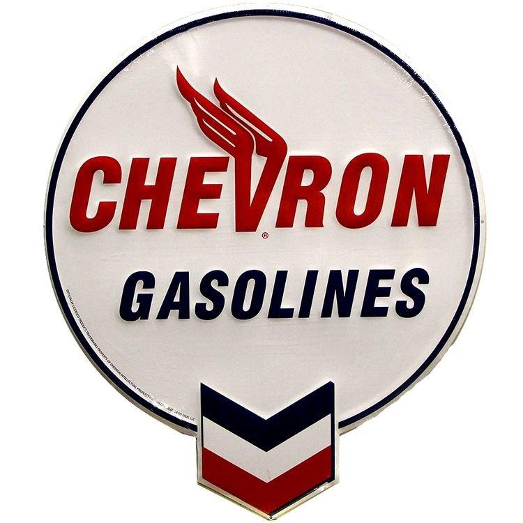 "LARGE 20"" Chevron Gasolines Vintage Embossed Tin Metal Sign"
