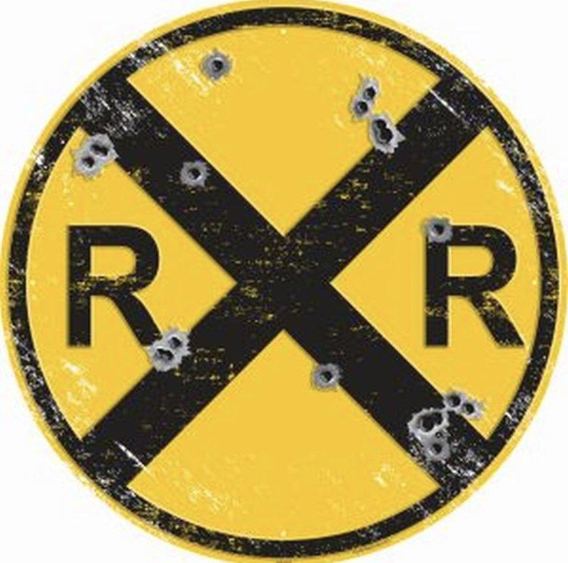 """LARGE 24"""" Railway Crossing w/ Bullet Holes - Vintage Embossed Tin Metal Sign"""