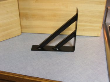 "One 8"" x 8"" shelf bracket industrial iron semi flat black multi bar"