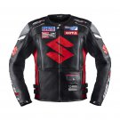 Suzuki Black Racing Motorcycle Leather Jacket