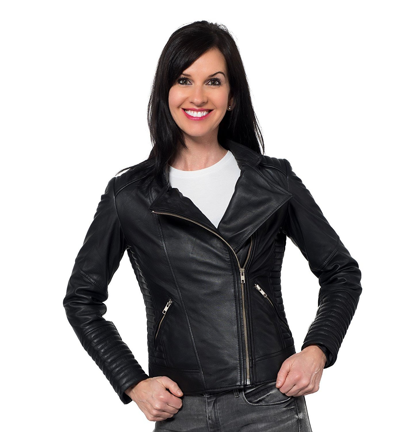 AMY PROTECTED LADIES MOTORCYCLE LEATHER JACKET