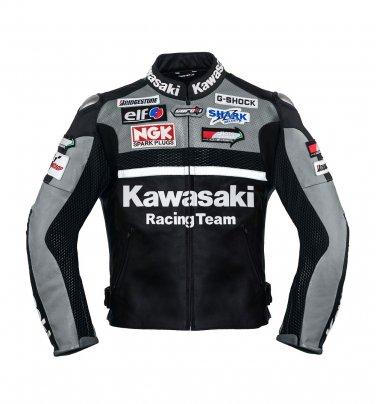 Kawasaki Gray Racing Team Leather Jacket (without a hump)