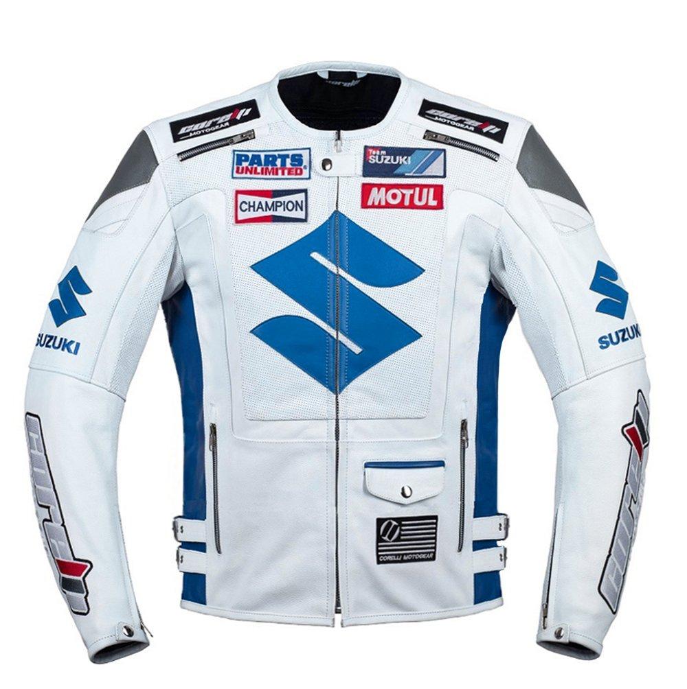 Suzuki White Racing Motorcycle Leather Jacket