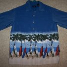 Boys Surfboard Shirt  Size 14 Palm Trees Luau Tiki Very Nice!