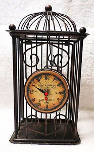 Rustic Metal Clock Bird Cage Style with candle holder inside