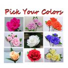 Choose your color - a dozen full bloom roses (crepe paper)