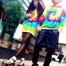 professional Handmade unique  Tie Dye‎  couple cool hoodie men and women long sweatshirts