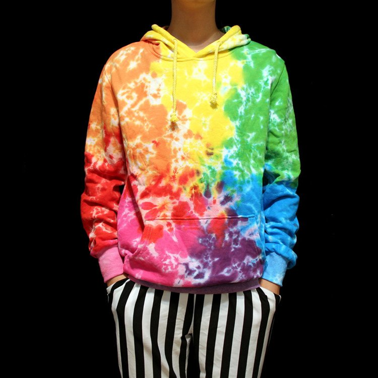 professional Handmade unique Tie Dye� couple cool hoodie men women long sweatshirts