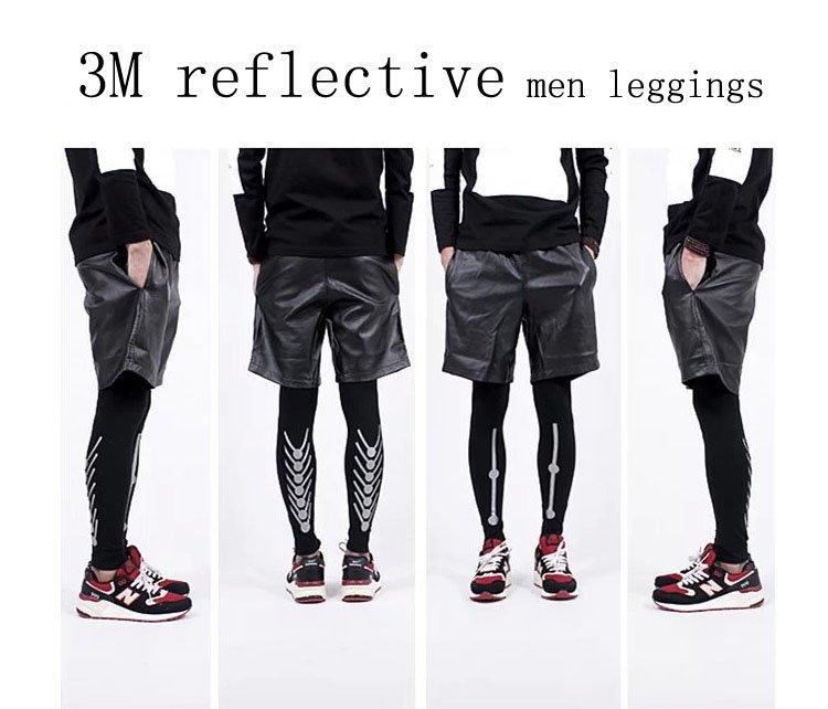 fashion mens sports leggings 3M reflective jogger pants  hiphop Inner wear