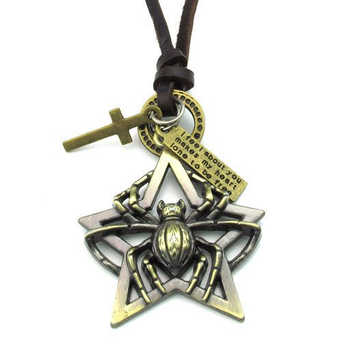 Men Adjustable Genuine Leather Chain necklaces boyfriend Gifts pattern spider
