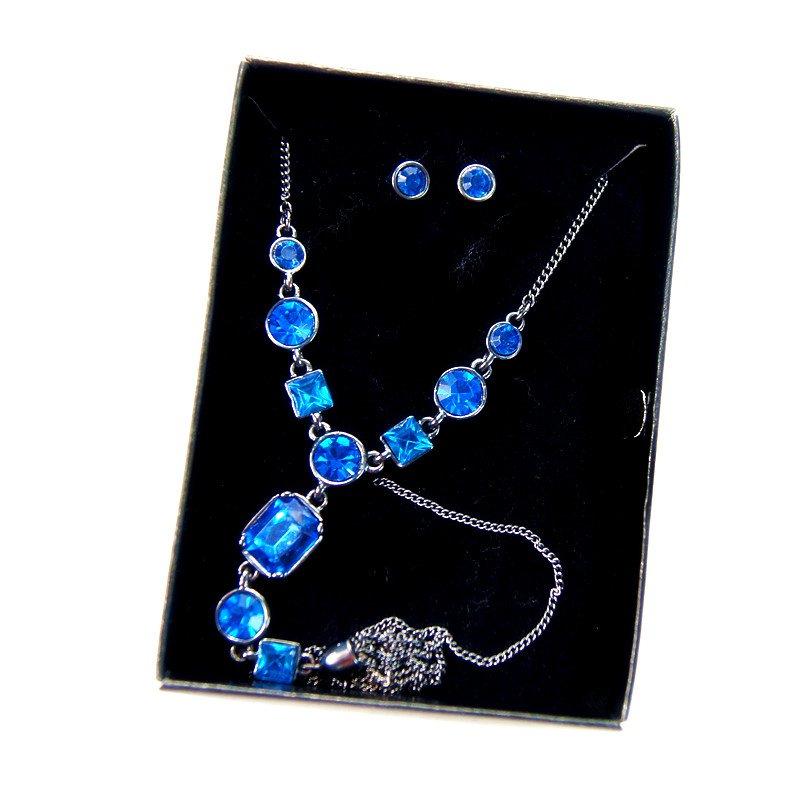 fashion jewelry charm chain blue Rhinestone Tassel Necklace Earrings Set for women gift idea