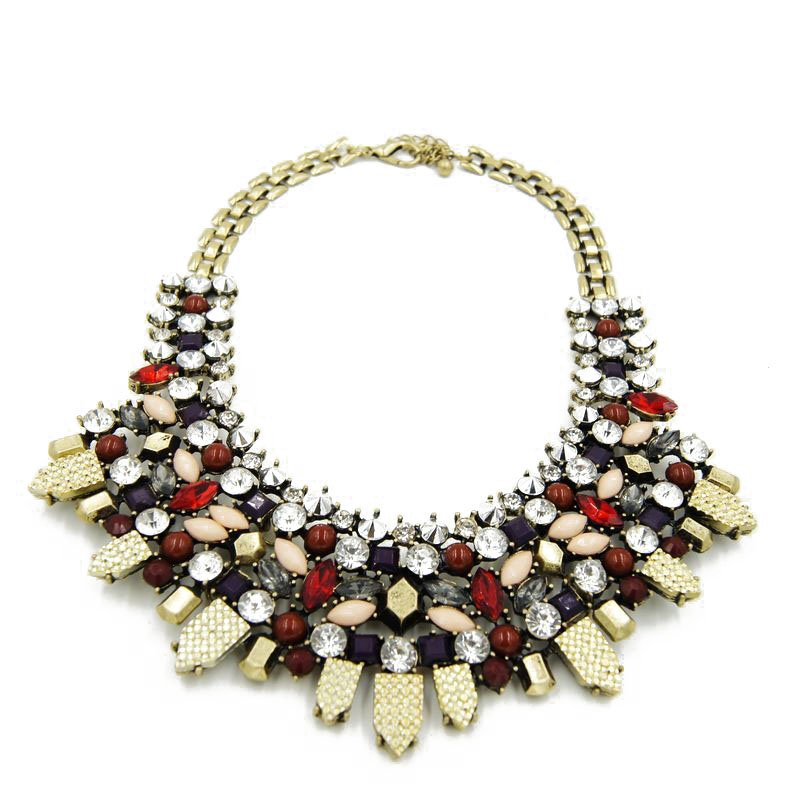 Pretty Women bib necklace for gift idea New fashion full of diamond luxury exaggerated wild necklace