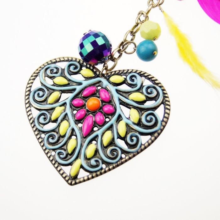 colorful heart pendants long necklace for womens kC4-A217