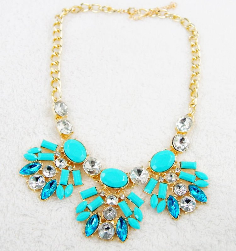 fashion jewelry charm necklaces blue flower pendants  for women gifts for her