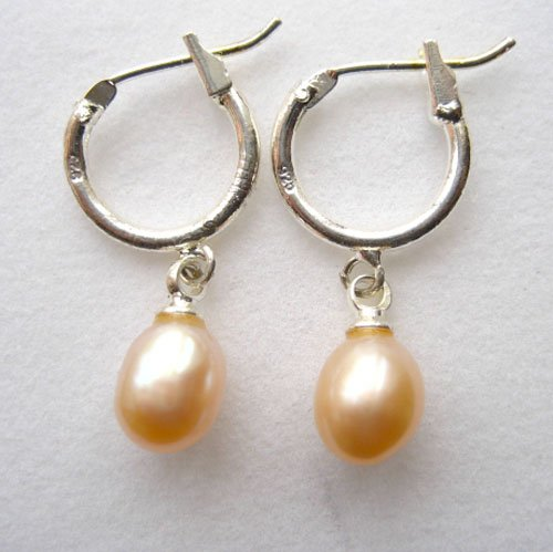 Pearl Jewelry 100% natural Pearl hoop Earrings  plated sterling silver for women