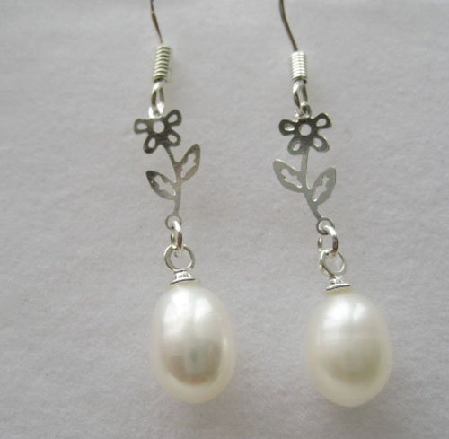 100% natural Pearl drop Earrings sterling silver Ear hook for women gifts for her