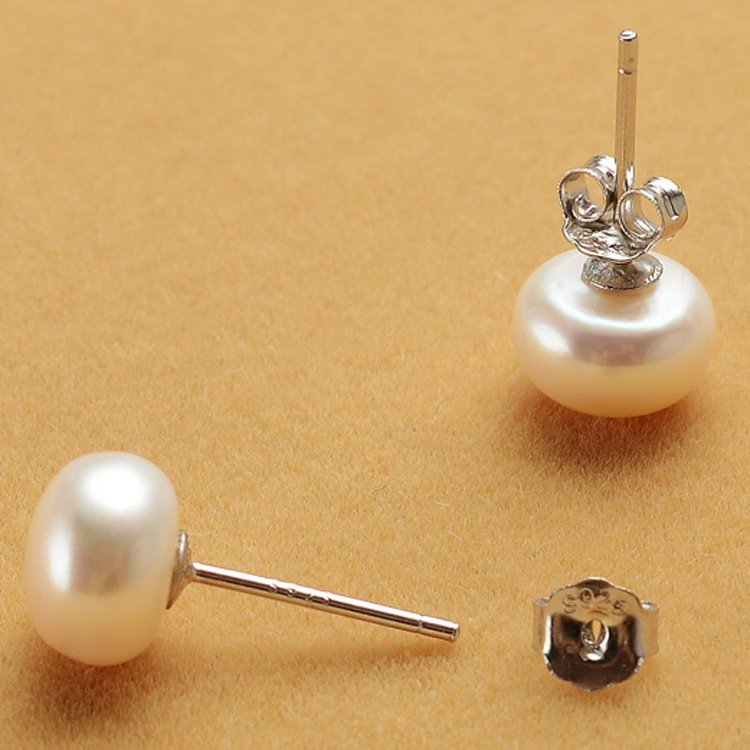 100% natural pearl stud earrings  sterling silver studs for women gifts for her