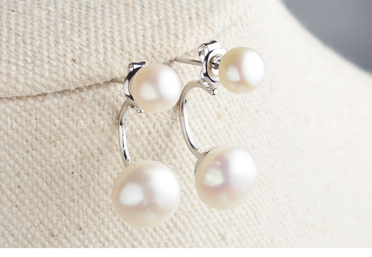 two set for one 100% natural pearl errings 925 sterling silver  for women gifts for her
