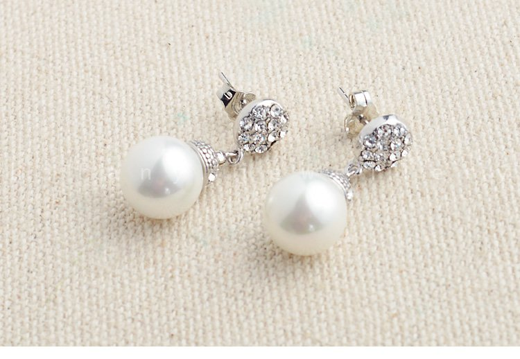 natural 10MM pearl 925 sterling silver studs Linear earring for women great gifts idea