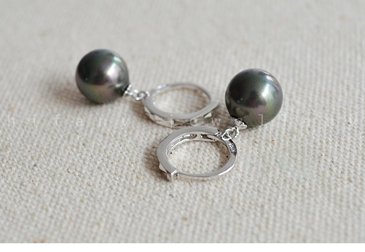 Natural 10MM pearl 925 sterling silver hoop earring for womens
