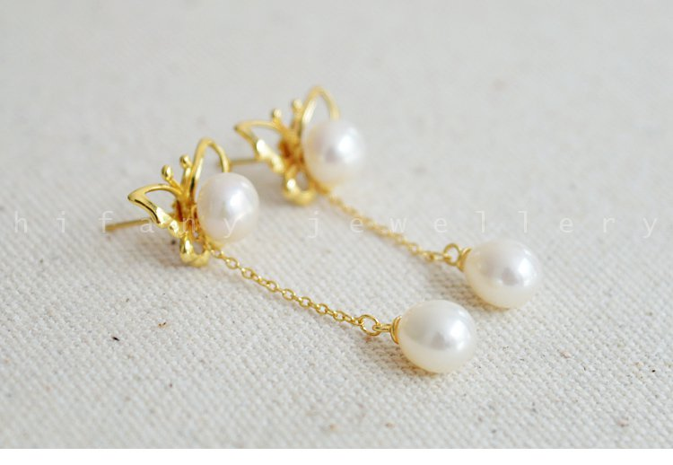 925 sterling silver / gold Butterfly  pearl studs earring for women AAA quality