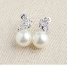 925 sterling silver  Butterfly pearl studs earring for women