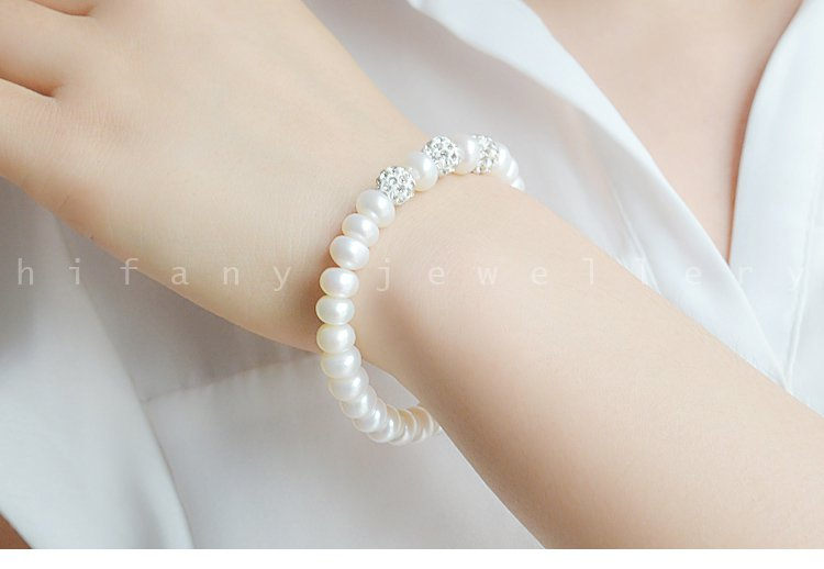 AAA+ fashion jewelry8-9mm Freshwater charm Bracelet for women gifts