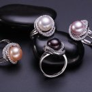 AAA+ fashion jewelry 11-12mm Freshwater pearl rings with 925 sterling silver for women
