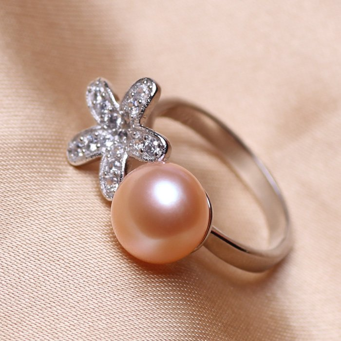 AAA+ fashion jewelry 9-10mm Freshwater pearl rings with 925 sterling silver for women