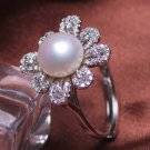 fashion jewelry 10-11mm Freshwater pearl rings with 925 sterling silver for women
