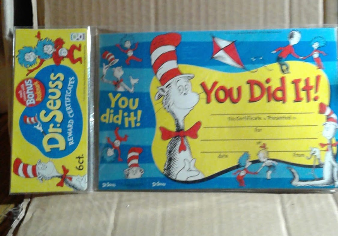 Dr Seuss You Did It Reward Certificates Bonus Bookmark 6 Count