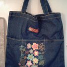 Faded Blue Denim Sassy Tote Bag Hand Decorated Retro Look Floral Appliqued